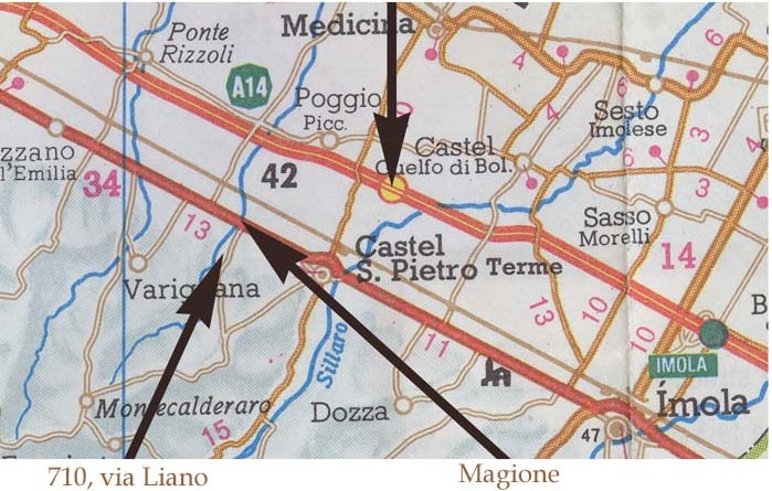 Map showing how to get to the workshop of Graziano Bandini and Grant